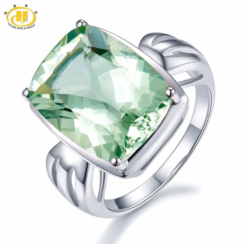 Hutang Fine Jewelry Huge Natural Green Amethyst Ring 925 Sterling Silver Gemstone Rings Cushion 12x16mm Womens Party