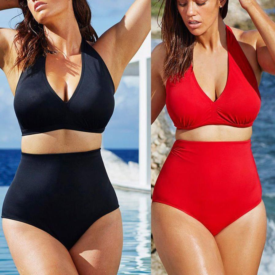 NEW Women Push Up Padded Bandeau High Waist Bikini Plus Size Vintage Set Summer Swimsuit Wear Biquini   AU0810