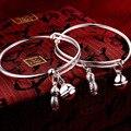 S999 silver bracelet foot silver children 's jewelry men and women baby children peanut bells silver bracelets