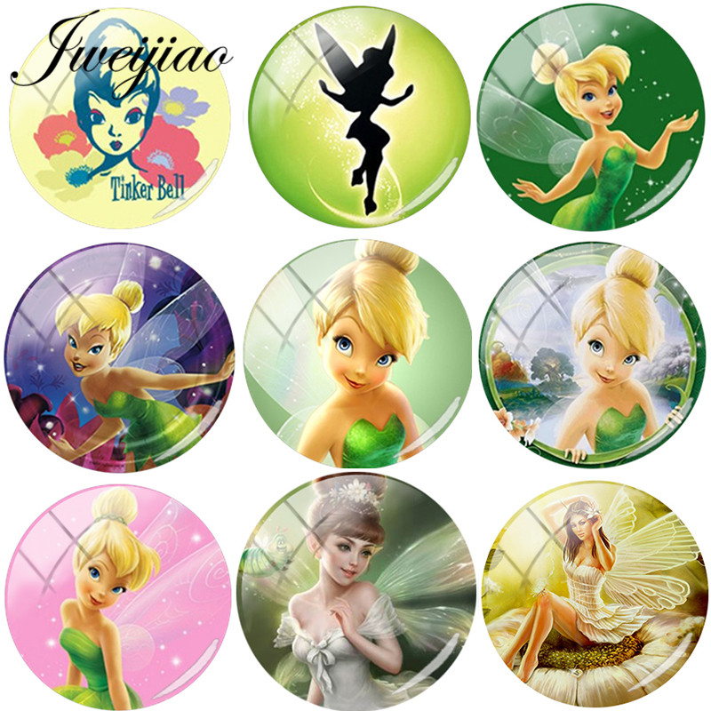 JWEIJIAO 5pcs/lot Pretty Case For Tinkerbell and fairy Photo Round DIY Glass Cabochon Dome Demo Flat Back Making Findings(China)