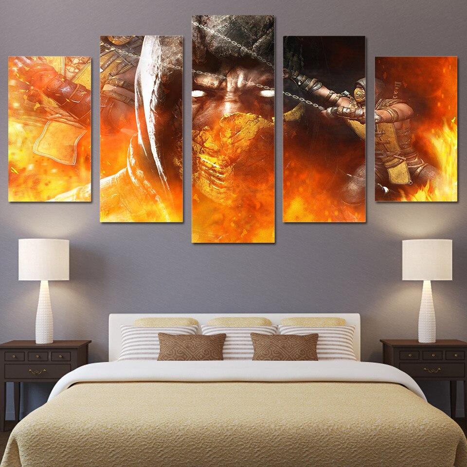 5 Panneau HD Imprimé Encadrée Mortal Kombat Feu Masque Mur Toile Art Moderne Peinture À L