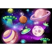 Laeacco Baby Cartoon Spaceship Universe Shiny Star Wallpaper Birthday Party Child Photo Backgrounds Backdrop Studio