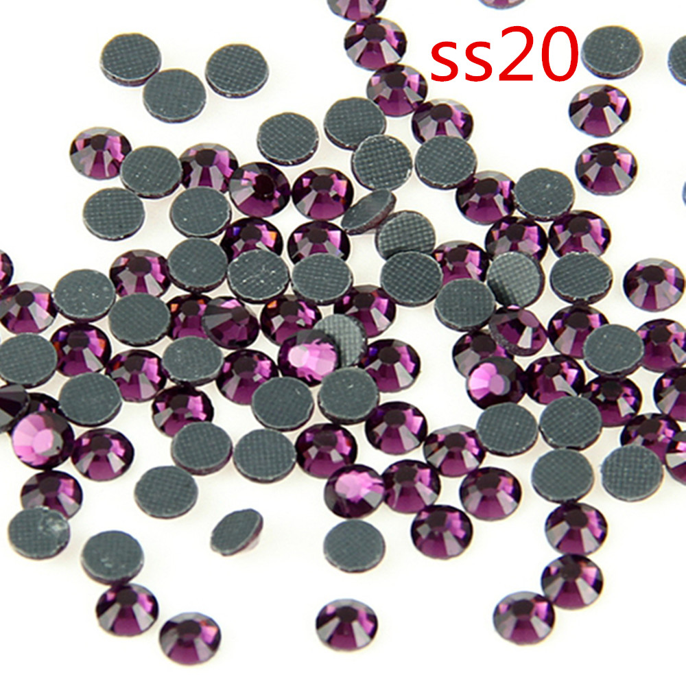 100 Grosss Dark Amethyst Crystal Hot-Fix Stones DMC Flat Rhinestopne SS20  For Home  Garden DIY b3f1e80915fe