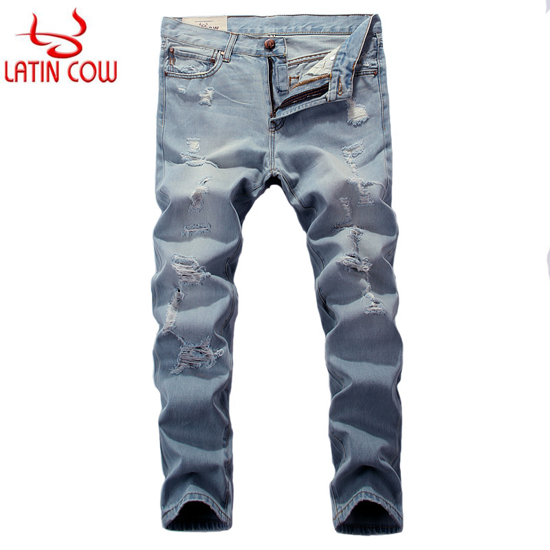 Summer Style Fashion Mens Jeans Light Blue Color Latin Cow Brand Frayed Hole Ripped Jeans Men Casual Pants Slim Fit Street Jeans