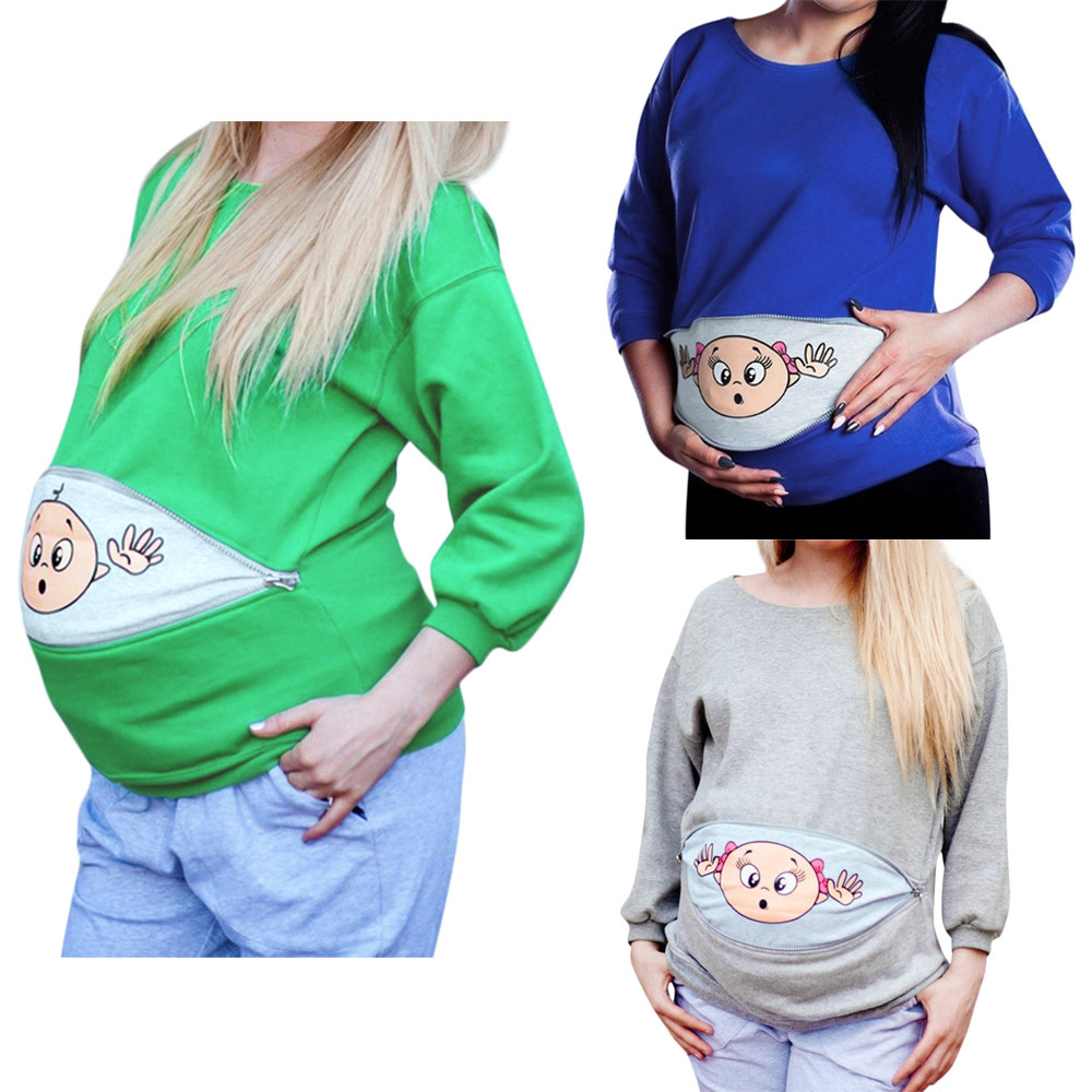 Expectant mother wei clothing Pregnant Women hoodies sweater Maternity Baby Peeking Sweatshirt Funny Trui Pregnancy Mother Pull