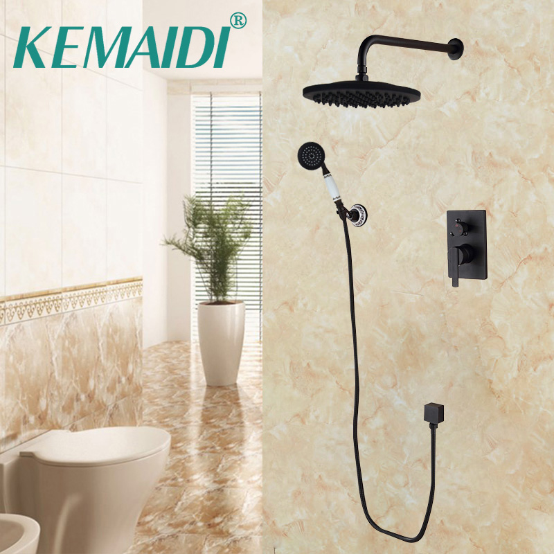 KEMAIDI Bathroom Faucets Shower Set Faucet Mixer Black Mixer Set Crane Bathtub Faucets Antique Bath Rain Shower Wall Concealed kemaidi new modern wall mount shower faucet mixer tap w rain shower head