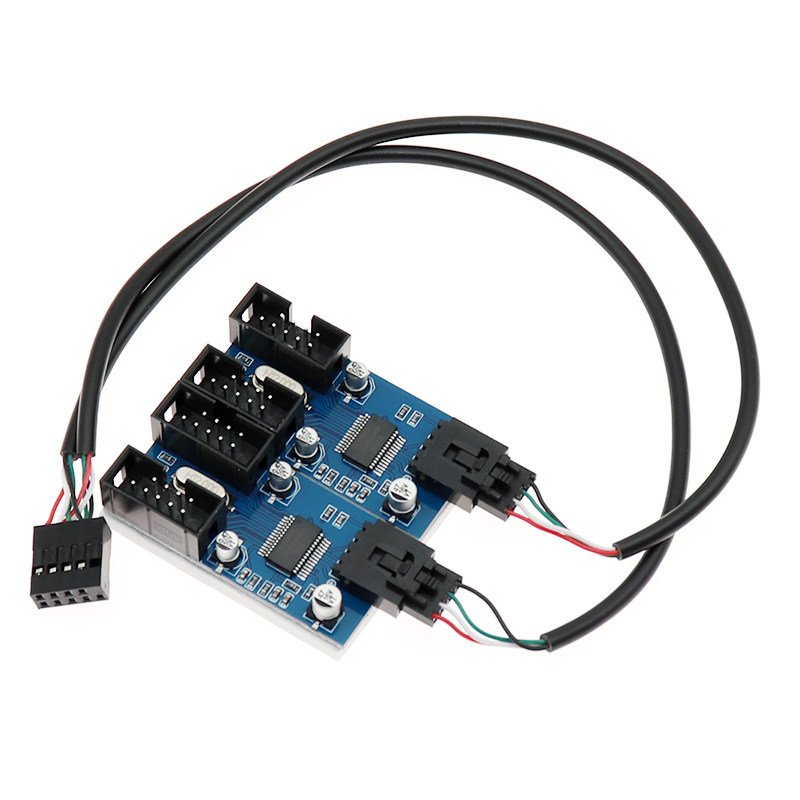 PC case internal 9pin USB 1 to 2 Splitter chipset Enhanced version extender