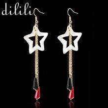 2017 New Fashion White Star shell tassel Gold Drop Earrings geometric Long Earrings For Women Fine Jewelry