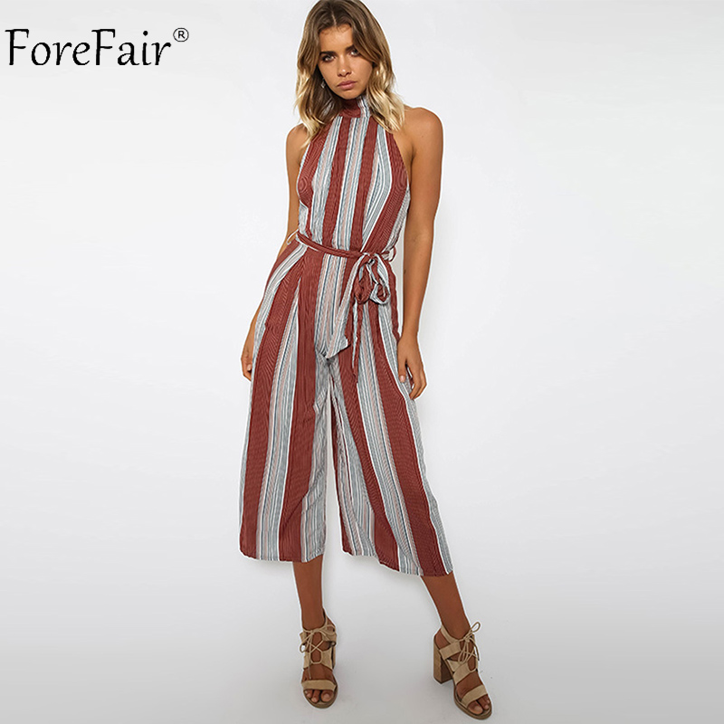 ForeFair Elegant Vertical Striped One Piece Linen Wide Leg Jumpsuit Women Sashes Plus Size Sexy Backless Jumpsuits