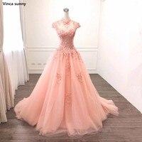 A Linha de Vestidos de Noite 2018 Robe De Soirée árabe de Manga Curta Beading Apliques Vestido Formal Das Mulheres Do Partido Vestido de Baile Foto Real