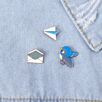 Flying bird envelope brooch thought expression brooch metal alloy badge fairy tale series badge girl clothes accessories image