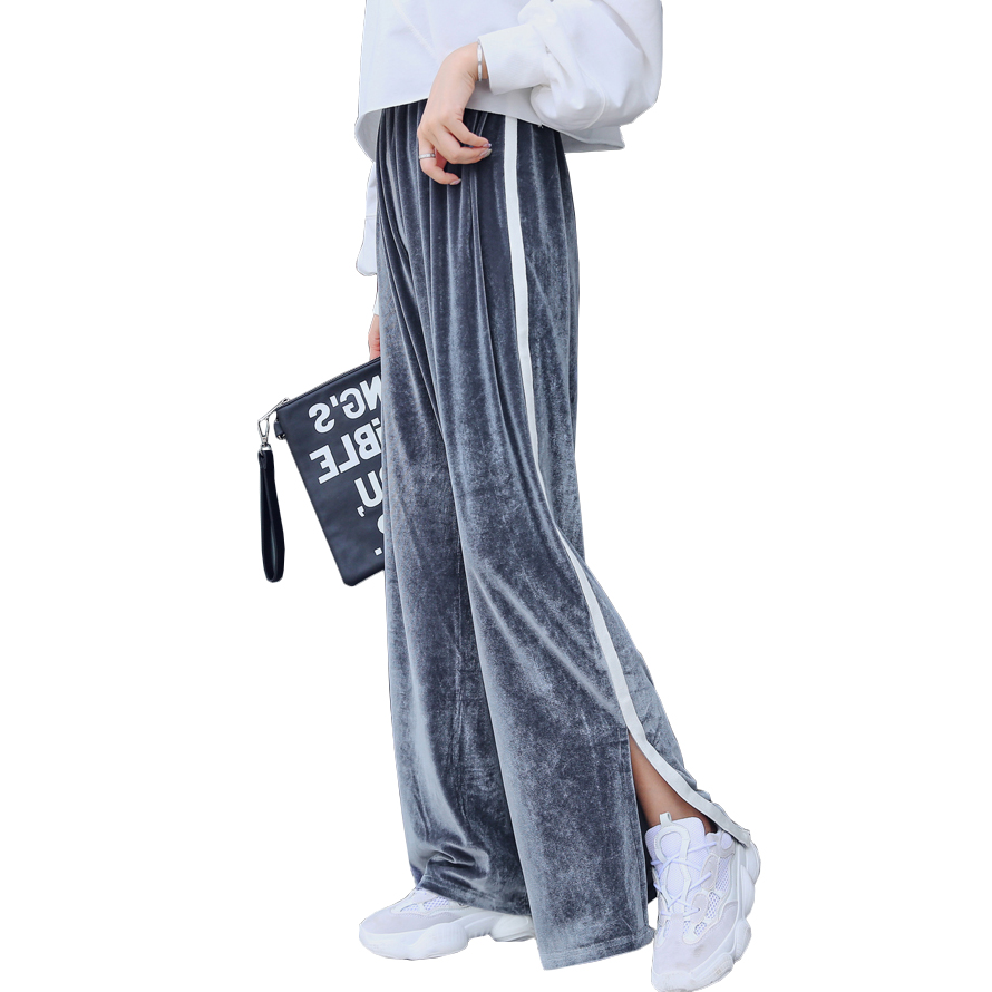 Fashion Side Striped Slit   Pants   Women Autumn Winter Velvet High Waist   Wide     Leg     Pants   2018 New Korean Split Velour Loose Trousers