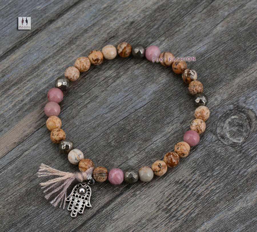Strethy Bracelet Boho Natural Stones Pyrite Tassel Stretch Bracelets Handmade Elastic Mala Bead Yoga - SUKI FASHION JEWELRY store