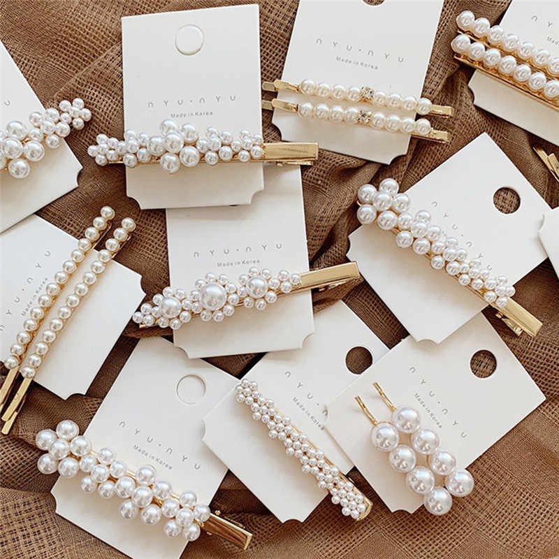 1pc Fashion Women Pearl Hair Clip Snap Barrette Stick Hairpin Bobby Hair Accessories Fashion Lady Headwear for Girls