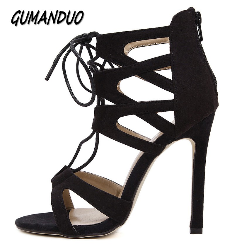 GUMANDUO new summer women pumps fashion Gladiator ankle Strap peep toe high heels sandals shoes woman party wedding ladies shoes plus size 33 43 new women sandals square thin heel summer ankle strap woman shoes red ladies fashion gladiator party pumps shoes