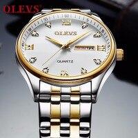 Männer Uhr OLEVS Luxus Marke armbanduhr Display Datum Woche männer Quarzuhr Edelstahl Business Uhr relogio masculino-in Quarz-Uhren aus Uhren bei