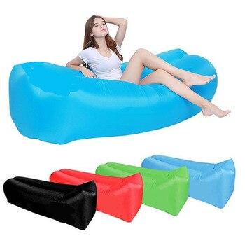 Outdoor camping sofa Fast Inflatable Lazy bag Sleeping Air Bag Camping Portable Air Sofa Beach Bed Air Hammock Nylon Banana Sofa фото
