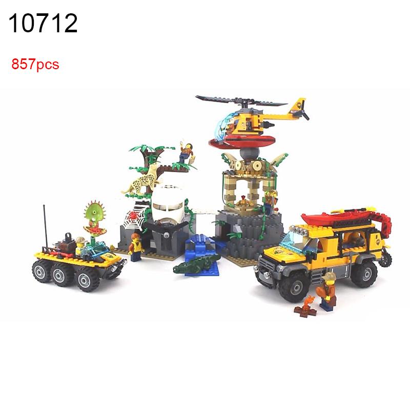 10712 857pcs City Series Exploration Of Jungle Building Blocks Compatible 60161 DIY Educational Bricks Toys for Children sermoido 02012 774pcs city series deep sea exploration vessel children educational building blocks bricks toys model gift 60095