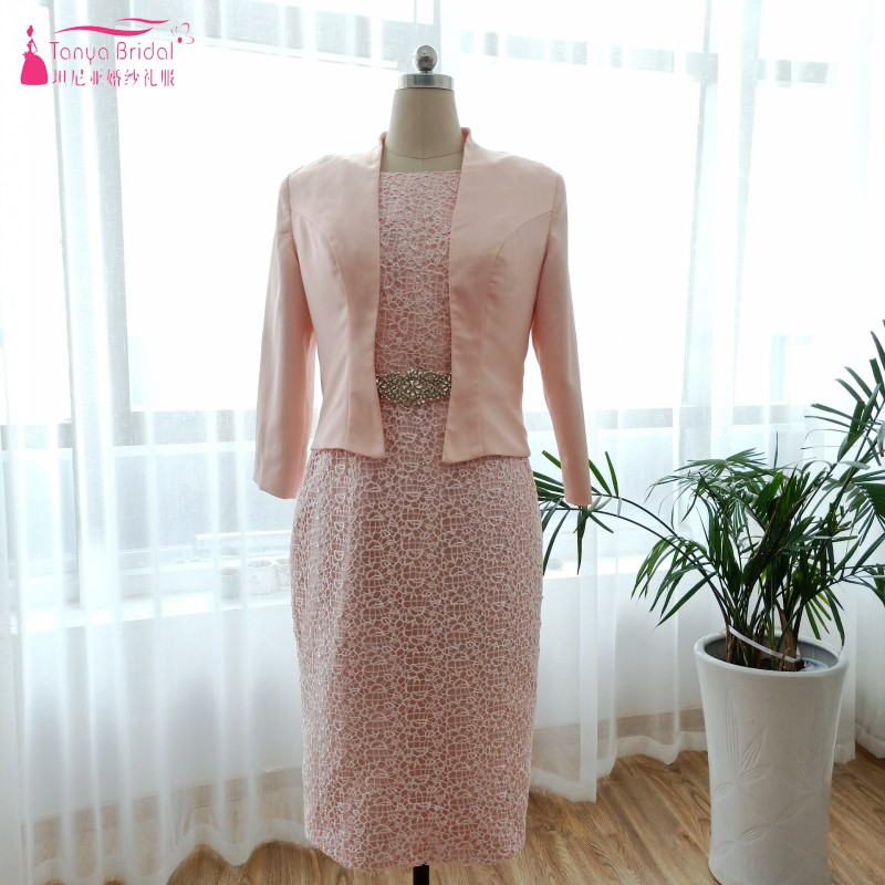 Formal Evening Dresses With Jacket Lace Two Pieces Skin Pink Simple Straight Vestido De Madrinha Lady Plus Size Dress Dqg557 Distinctive For Its Traditional Properties Weddings & Events