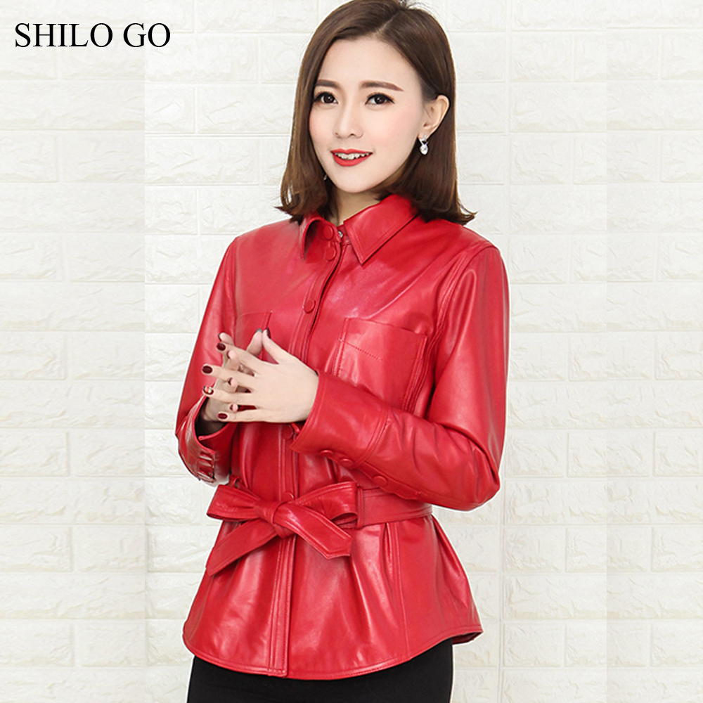 SHILO GO Leather Coat Womens Spring Fashion sheepskin genuine Leather Jacket laple collar bow belt single breasted OL coat