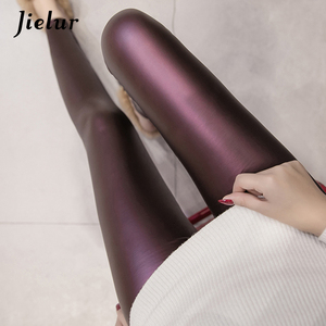 Jielur 2020 Осенние леггинсы из искусственной кожи женские 4 цвета обтягивающие брюки женские корейские облегающие флисовые леггинсы-карандаш S-3XL