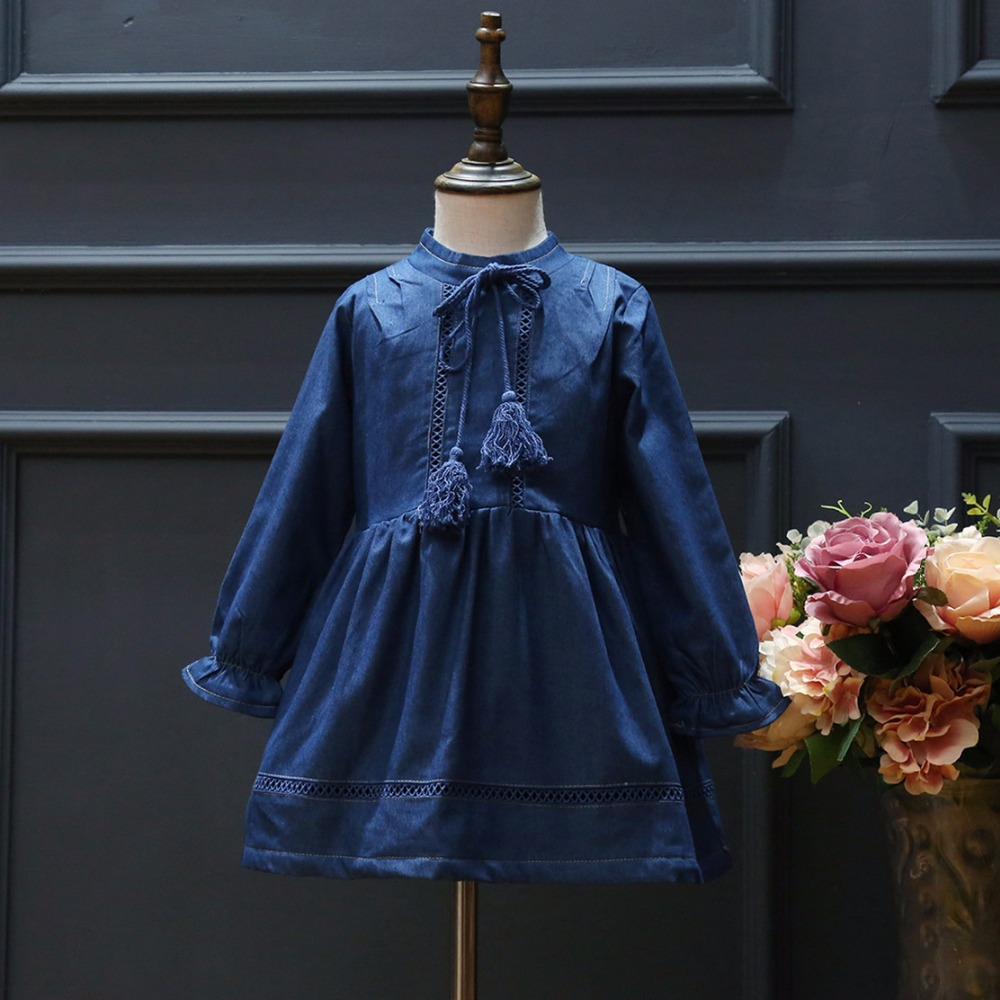цены kids girl denim blue dress baby o-neck long sleeve thick fleece solid warm dresses children clothing party clothes winter 2-7T