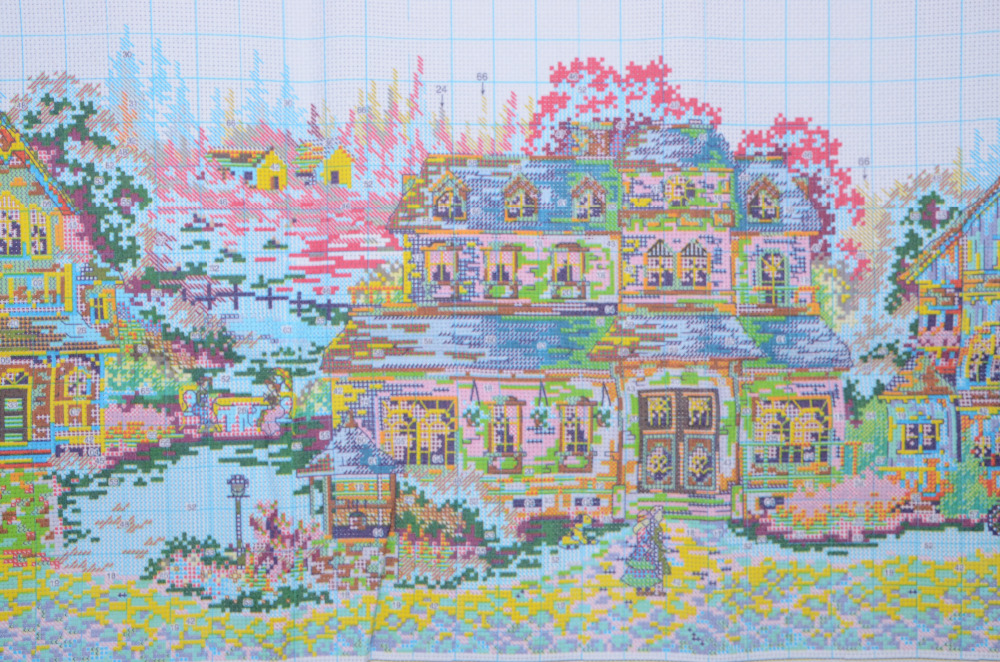 A Green Village Counted Cross Stitch Patterns Embroidery Needlepoint Kits 11CT Cotton Thread Painting DIY Needlework DMC Sets