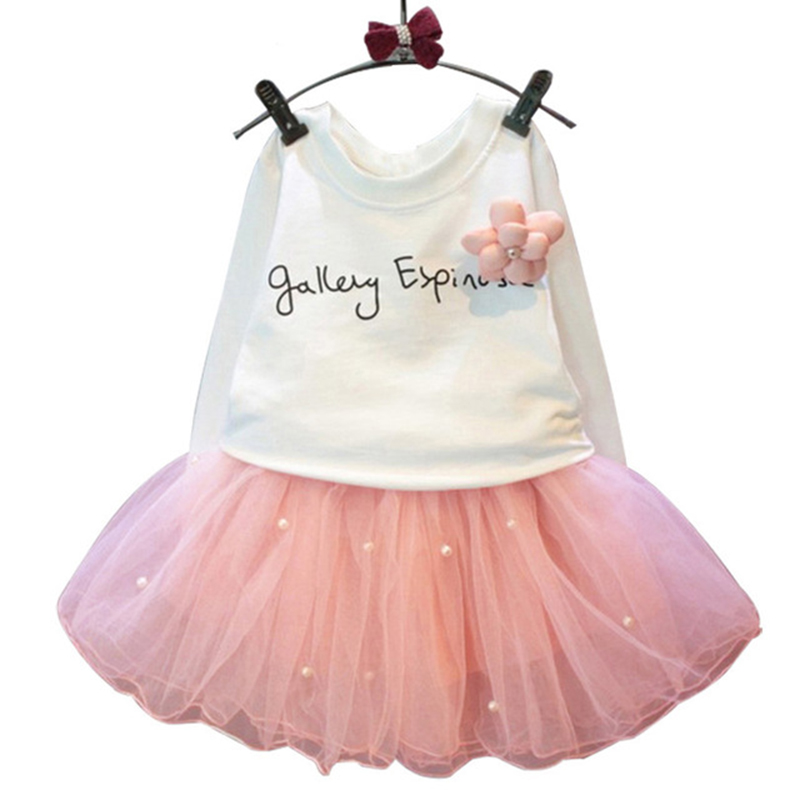2018 lovely girls white tee shirt and pink skirt with rhinestone clothes set for kids girl Autumn children clothing Dress retail