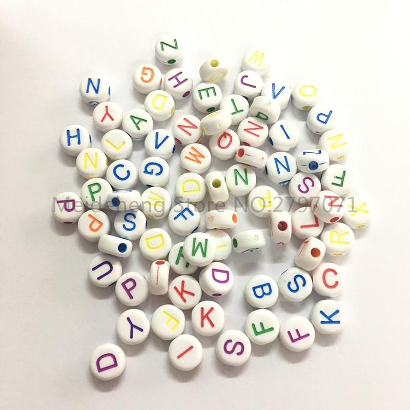 7mm Acrílico forma redonda letras contas para colar pulseira DIY - Bijuterias - Foto 4