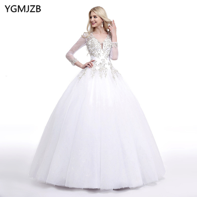 5f34ed0524d53 Puffy White Wedding Dresses 2019 Ball Gown V Neck Long Sleeves Beaded  Crystal Wedding Gown Open Back Bride Dress Bridal Gown