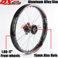 Black 1.60x17inch Front Wheels 12mm or 15mm Alxe Alloy Rim For KAYO BSE Apollo Xmotos CRF50 CRF70 Dirt Pit Bike Spare Parts