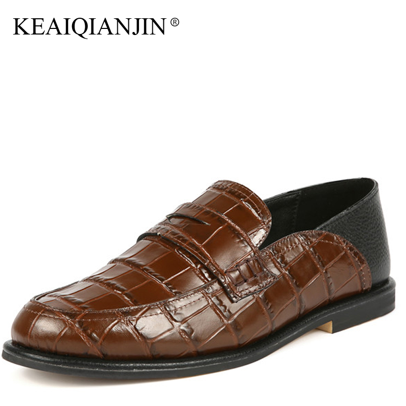 Фотография KEAIQIANJIN Woman Genuine Leather Derby Shoes Fashion Spring Autumn Brown Black Flats Casual Genuine Leather Loafers 2018