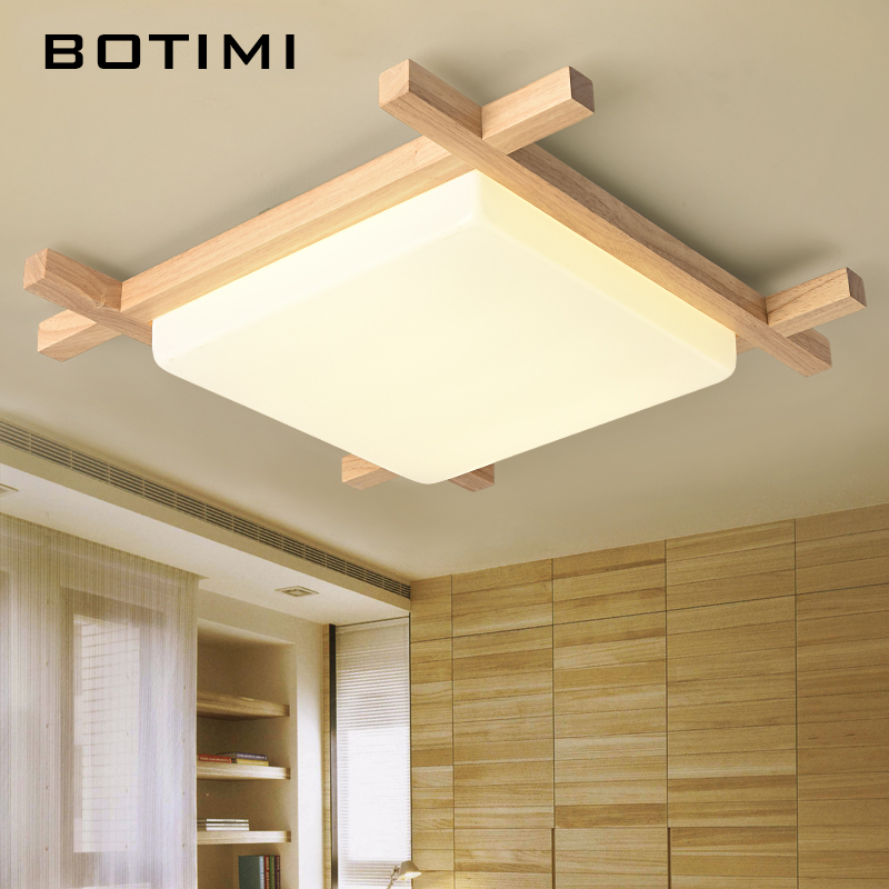 BOTIMI Nordic LED Wooden Ceiling Lights In Square Shape lamparas de techo For Bedroom Balcony Corridor Kitchen Lighting Fixtures