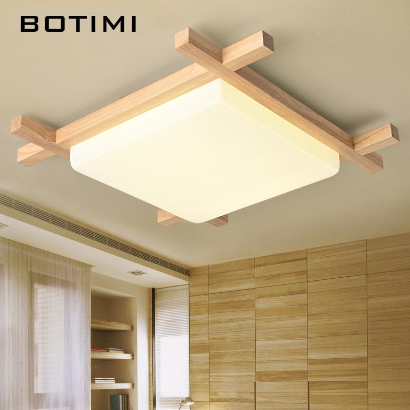 BOTIMI Nordic LED Hölzerne Deckenleuchten In Quadratischer Form lamparas de techo Für Schlafzimmer Balkon Flur Küche Leuchten