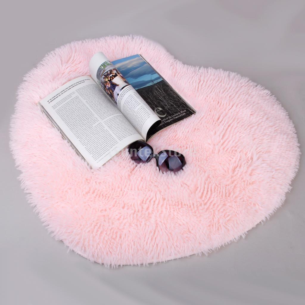 Soft Heart Design Fluffy Mat Rug Bedroom Fake Faux Fur