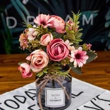 Поддельные Чайные розы, осенние шелковые цветы, искусственный цветок из пластика для свадьбы, украшения дома, декор для комнаты