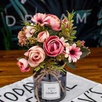 Herbst gefälschte tee rose silk blume herbst Gerbera Daisy künstliche kunststoff blume für hochzeit hause zubehör dekoration room decor