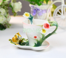 Ceramic Tiger Bone China Coffee Cup Porcelain Colored Enamel Tea Cups Gift Safe Package
