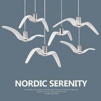Nordic Creative Seagull Pendant Lights Black White LED Pendant Lamp Bar Dinning Room Suspension Luminaire Kitchen