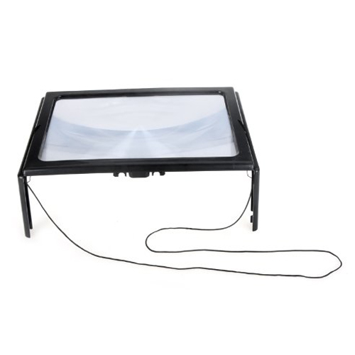 NFLC-Ultrathin A4 Full Page Large PVC Magnifier 3X Foldable Magnifying Glass Loupe Hands Free for Reading with 4 LED Lights
