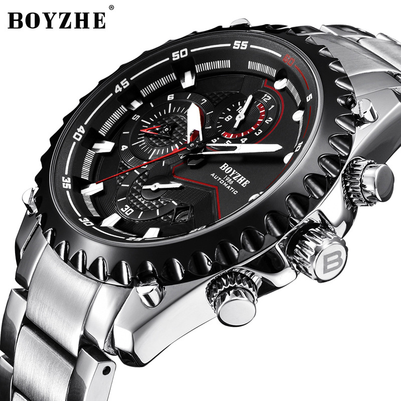 e43a128a5c3 BOYZHE Watch Men Luxury Waterproof Multifunction Automatic Movement Watch  Man Inox Stainless Steel Strap Mechanical Watches