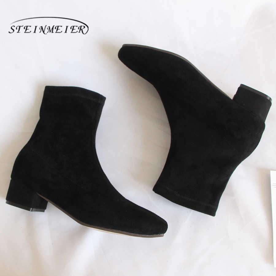 Hakiki inek süet Deri Ayak Bileği kadın Botları Rahat kaliteli yumuşak ayakkabı Marka Tasarımcısı El Yapımı kışlık botlar siyah 2019