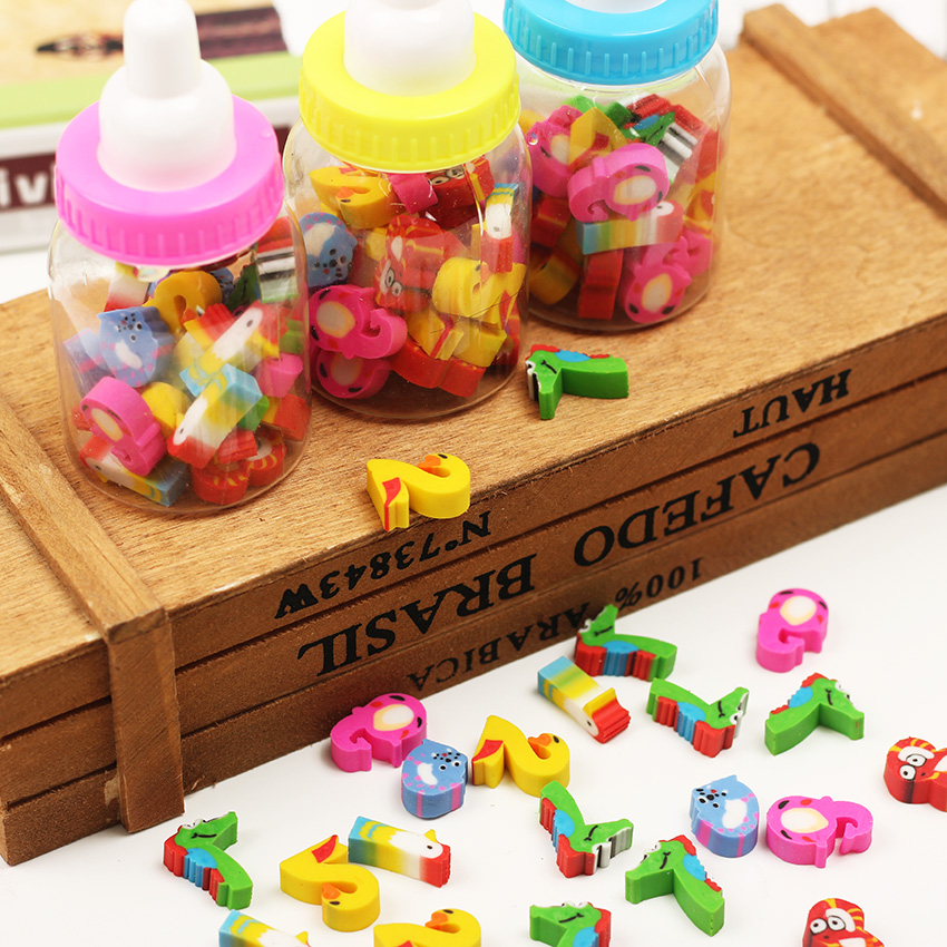 A Bottle Mini Cute Kawaii Cartoon Animal Erasers For Kids School Supplies Creative Gift
