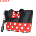 PLEEGA New Mickey Bow Cosmetic Cases Women High Quality PU Lovely Cartoon Makeup Organizer Make Up Bag Travel Vanity Case