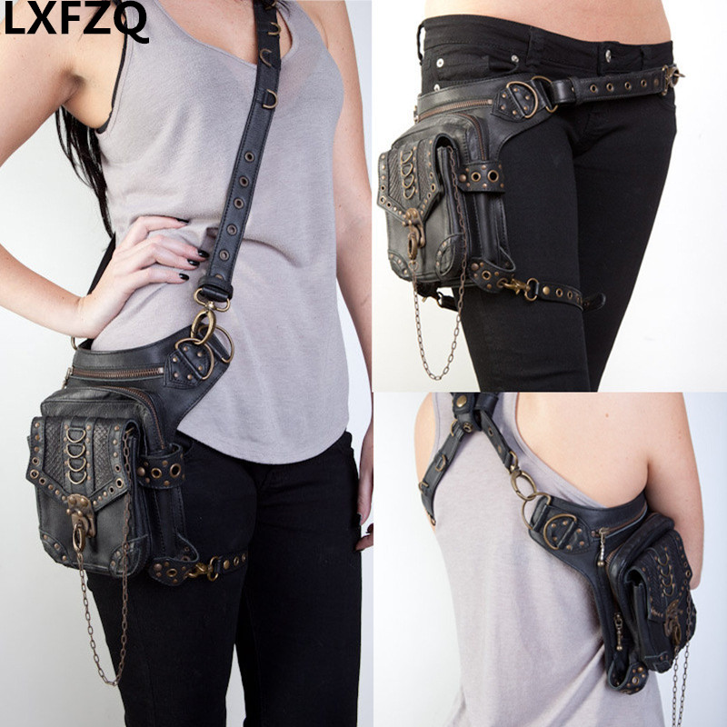 waist bag women Steam punk Holster Protected Purse Shoulder carteras mujer thigh Motor leg bag belt