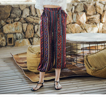 Spring and summer new style Vintage ethnic wind bloomer Beach pants Holiday trousers Printed