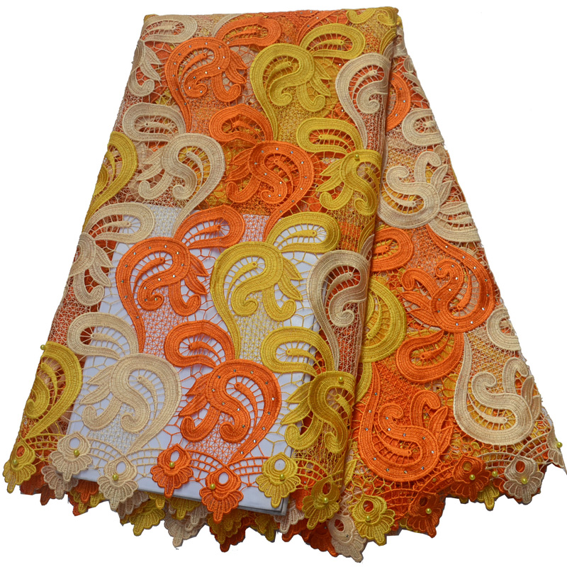 (5 Yards/pc) Hohe Qualität Orange Farbe Afrikanische Große Schnur Spitze Stoff Ordentlich Wasser Löslich Spitze Mit Perlen Für Party Kleid Wlp860