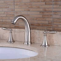 Brushed Nickel Dual Lever Bathroom Basin Faucet Deck Mounted Widespread 3 Hole Sink Mixer Taps Bath