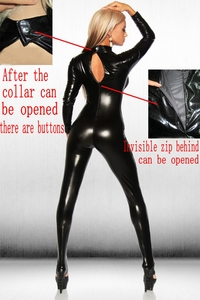 Image 2 - Sexy Lingerie Hot Erotic Teddy Underwear Woman Adult Supplies Latex Catsuit  Patent Leather Deep Open Patent Leather Skinny