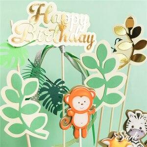 Image 3 - Топпер для торта с изображением жирафа обезьяны животных, золотые буквы на день рождения, украшения для детского дня рождения, для вечевечерние НКИ мальчика и девочки, милые подарки для выпечки